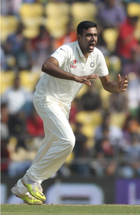 Indian spinner Ravichandran Ashwin reacts as he appeals against a South African batsman on the third day of the third cricket test match between the two countries in Nagpur, India, Friday, Nov. 27, 20