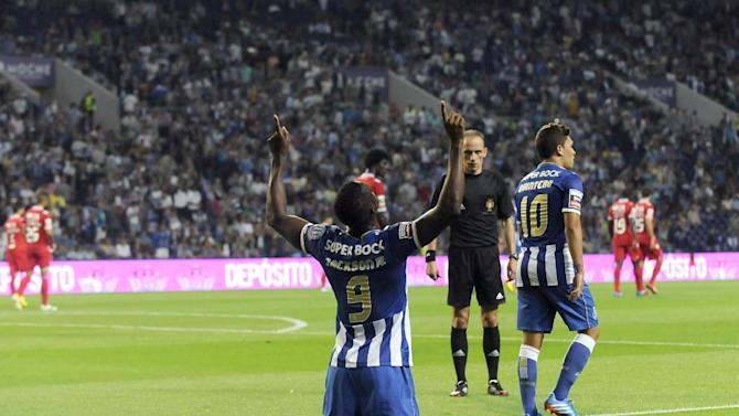 FC Porto's Jackson Martinez, from Colombia, celebrates after scoring his team's second goal against Gil Vicente in a Portuguese League soccer match at the Dragao stadium in Porto, Portugal, Saturday, Sept. 14, 2013. Jackson scored once in Porto's 2-0 victory