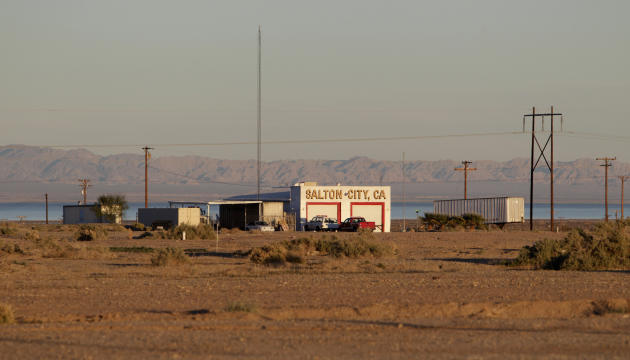 In this Dec. 27, 2010 photo, a public building stands on the rugged terrain in Salton City, Calif., a town on the Salton Sea. Water conservation efforts are being made in hopes of restoring the evapor