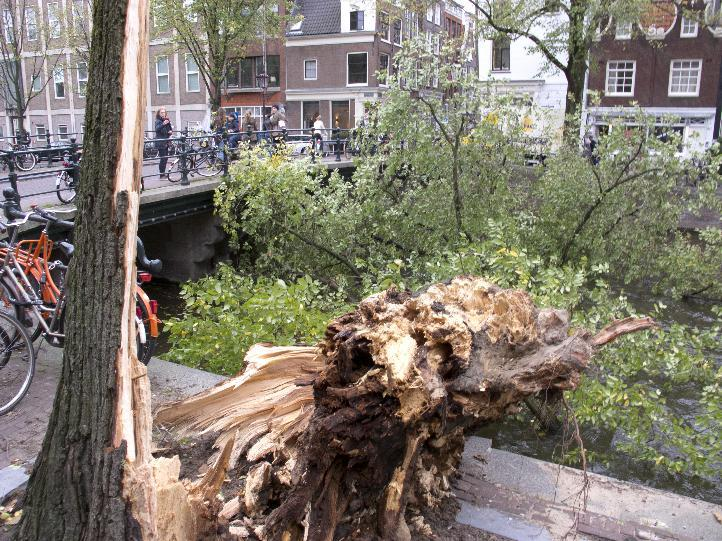 A fallen tree branch blocks Herengracht canal in Amsterdam, Monday, Oct. 28, 2013. A major storm with hurricane-force gusts lashed southern Britain, the Netherlands and parts of France on Monday, knoc