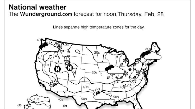 The Weather Underground forecast for Thursday, Feb. 28, 2013 says to expect continued accumulating snow in the interior and northern Northeast and lighter precipitation from the Ohio Valley through New England as the winter storm impacting the region moves off the New England coast and into the Atlantic Ocean.  (AP Photo/Weather Underground)
