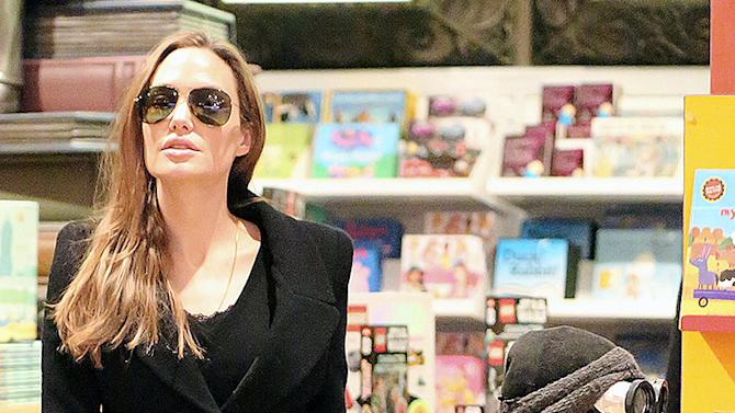 Angelina Jolie takes Knox and Pax to FAO Schwarz in NYC