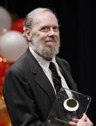 FILE - In this May 19, 2011 file photo taken by AP Images for Japan Prize Foundation, Dennis Ritchie, Bell Labs Fellow, poses after receiving the 2011 Japan Prize at Bell Labs headquarters in Murray Hill, N.J. Ritchie, a pioneer in computer programming, is dead at age 70, according to his longtime employer. Ritchie created the popular C programming language and helped create the Unix operating software. (AP Photo/Victoria Will, AP Images for Japan Prize Foundation, File)
