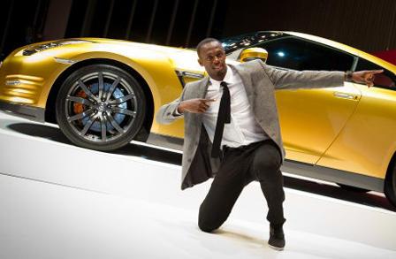 Photos: Usain Bolt gets a golden GT-R, and a title