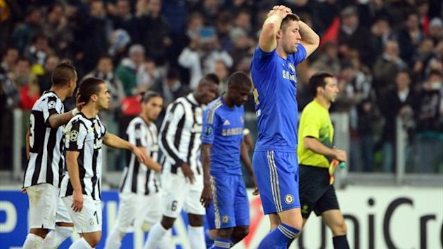 Chelsea defender Gary Cahill reacts after the defeat to Juventus in the Champions League (AFP)