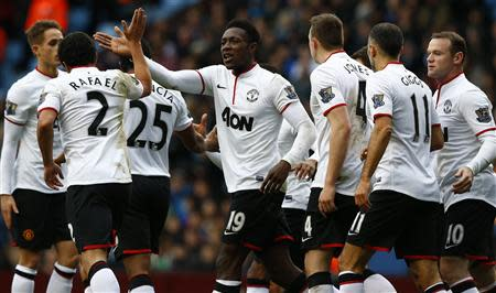 Manchester United's Welbeck celebrates his second goal against Aston Villa during their English Premier League soccer match in Birmingham