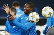 Montpellier's Mapou Yanga-Mbiwa during a training session in western Germany on the eve of their Champions League match against Schalke. Montpellier warmed up for their trip to Gelsenkirchen with a 2-0 win at Nancy on Saturday, their first win in four Ligue 1 games