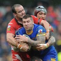Leeds' Brett Delaney, centre, does not need surgery on his injured thumb