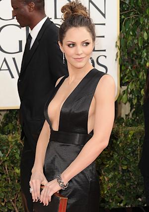 Katharine McPhee Flashes Major Sideboob in Plunging Black Dress at Golden Globes