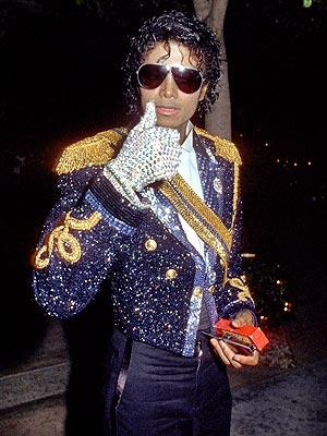 The iconic rhinestone glove at the 1984 Grammys--he won eight awards for Thriller.