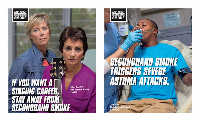 This combination of images provided by the Centers for Disease Control and Prevention shows posters from their anti-smoking advertising campaign, launched on Thursday, March 28, 2013. The ads are part of the second round of a graphic ad campaign designed to get smokers off tobacco. The CDC says they believe the last effort convinced tens of thousands to quit. (AP Photo/CDC)
