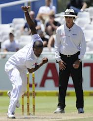 Vernon Philander in action for South Africa in the first Test against New Zealand in Cape Town on January 4, 2013. Although Philander will miss the second Test because of a hamstring strain, New Zealand's batsmen will again face a formidable challenge from Steyn, Morkel, Jacques Kallis and Rory Kleinveldt, who will replace Philander