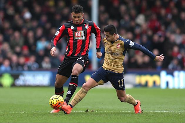 Bournemouth's Joshua King in action with Arsenal's Alexis Sanchez
