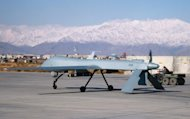 A US Predator drone sets off from its hangar at Bagram air base in Afghanistan in 2009. Al-Qaeda's second in command in Afghanistan has been killed in an air strike near the Pakistani border, NATO said Tuesday