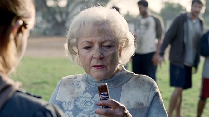 This image provided by Snickers actress Betty White in an advertisement for Snickers to air during the 2010 Super Bowl. White has been voted the Entertainer of the Year by members of The Associated Press. (AP Photo/Snickers) NO SALES