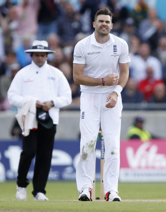 England's James Anderson after sustaining an injury