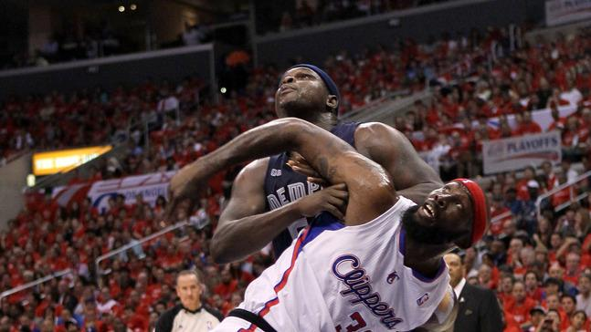 Reggie Evans #30 Of The Los Angeles Clippers And Zach Randolph #50 Of The Memphis Grizzlies Battle For Position Under Getty Images