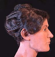 A side view of the hairstyle, the wig, based on the information obtained from the CT scans, was designed by Victoria Lywood.