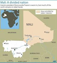 Map of Mali showing the northern half of the country controlled by Islamists and Tuareg rebels. Mali's embattled transitional government has rejected a rebel alliance's declaration of an Islamic state in the vast desert north, a move that has plunged the nation closer to breakup two months after a coup
