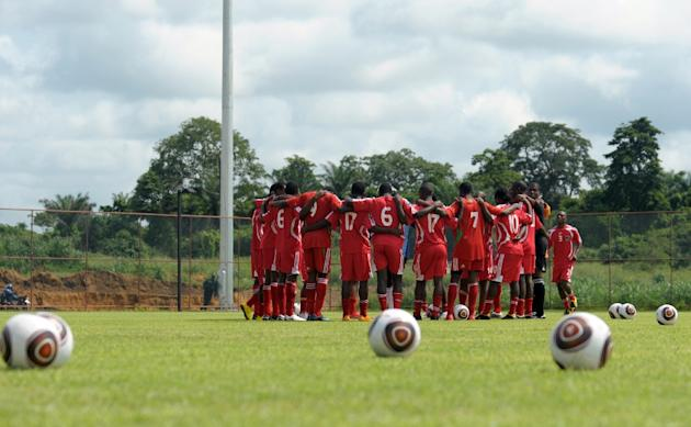 Malawi national football team players attend a training session on January 17, 2010