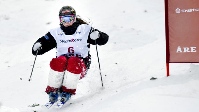 Canadian Chloe Dufour-Lapointe competes in the Ladies' FIS freestyle World Cup race in Are, on March 9, 2012. Dufour-Lapointe took the second place.    AFP PHOTO/ SCANPIX/ PONTUS LUNDAHL    ***SWEDEN OUT*** (Photo credit should read PONTUS LUNDAHL/AFP/Getty Images)