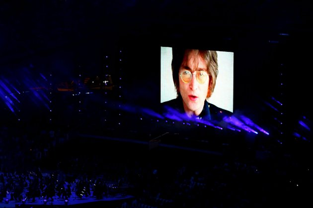 LONDON, ENGLAND - AUGUST 12: The late John Lennon is displayed on a screen during the Closing Ceremony on Day 16 of the London 2012 Olympic Games at Olympic Stadium on August 12, 2012 in London, England. (Photo by Clive Brunskill/Getty Images)