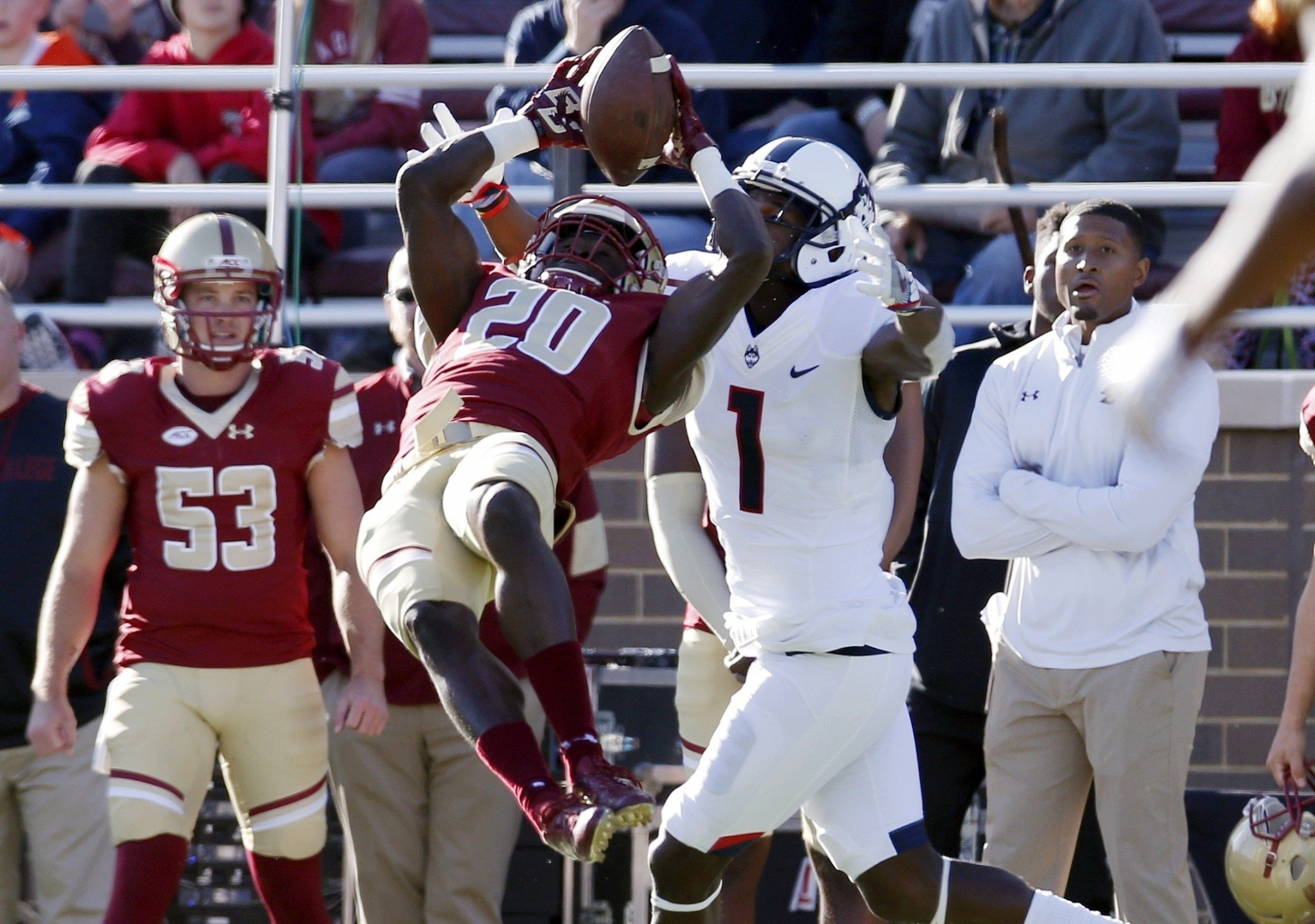 Boston College beat UConn in 2016. The Eagles declined to play that game at Fenway Park. (AP)