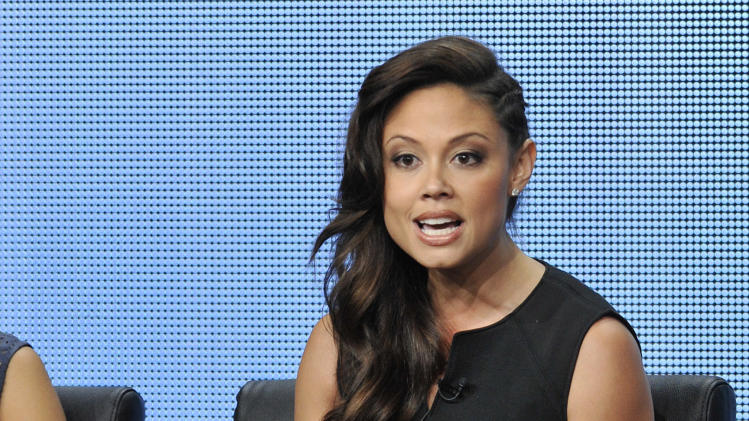 "Vanessa Lachey, a cast member on the FOX series ""dads,"" addresses reporters during a panel discussion on the show at the FOX 2013 Summer TCA press tour at the Beverly Hilton Hotel on Thursday, Aug. 1, 2013 in Beverly Hills, Calif. (Photo by Chris Pizzello/Invision/AP)"