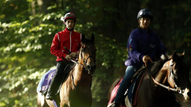 French jockey Lemaire rides Makahiki during a training session prior to the Qatar Prix de l'Arc de Triomphe horse race in Chantilly