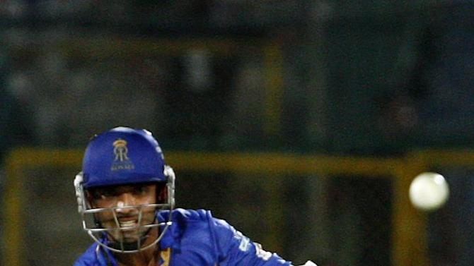 Rajasthan Royals batsman Ajinkya Rahane in action during CLT20 match between Rajasthan Royals and Otago Volts at Sawai Mansingh Stadium in Jaipur on Oct. 1, 2013. (Photo: IANS)
