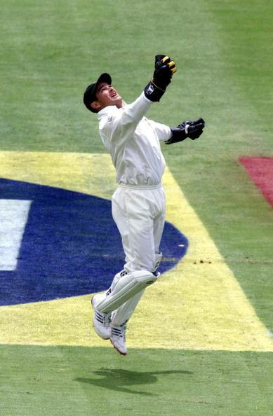 22 Feb 2002:  Mark Boucher of South Africa celebrates catching Ricky Ponting of Australia during the first day of the first test between South Africa and Australia, played at The Wanderers, Johannesbu