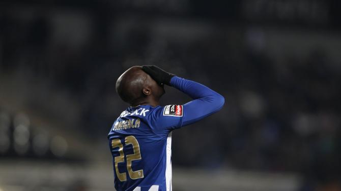 Porto's Eliaquim Mangala reacts after a missed scoring opportunity against Academica during their Portuguese Premier League soccer match at the Coimbra city stadium in Coimbra