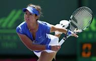 Li Na of China serves against Varvara Lepchenko during their third round match at the Sony Open at Crandon Park Tennis Center on March 23, 2013 in Key Biscayne, Florida. smacked 19 winners and fought off a late comeback bid to defeat Lepchenko 6-2, 6-4