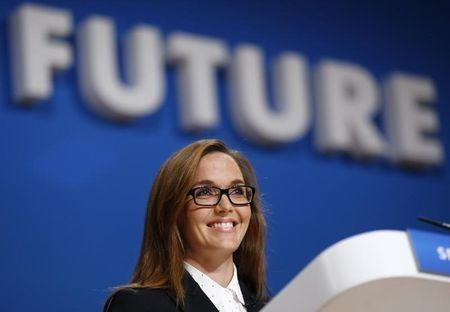 British Olympic gold medallist cyclist Victoria Pendleton speaks at the Conservative Party Conference in Birmingham