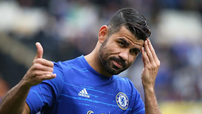 Chelsea's Diego Costa during the warm up before the game