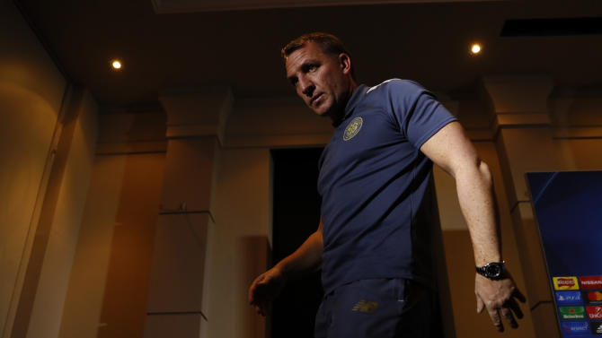 Celtic manager Brendan Rodgers leaves the press conference