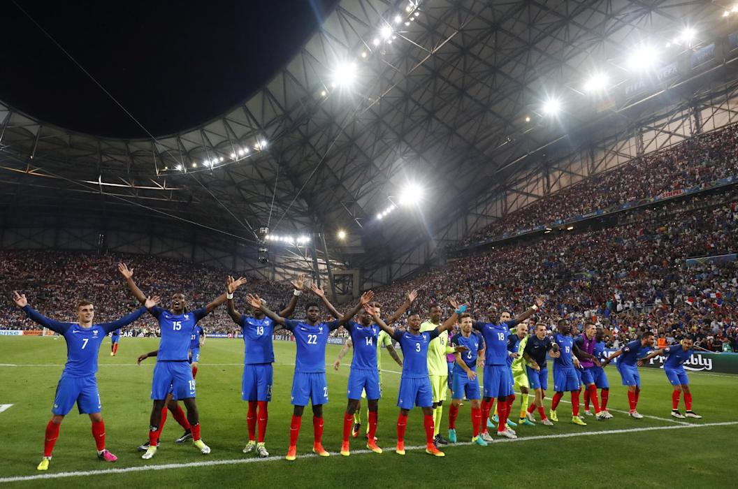 France players celebrate at the end of the game