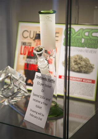 A Seattle Seahawks-themed bong is being raffled off on Super Bowl Sunday at Queen Anne Cannabis Club in Seattle, Washington