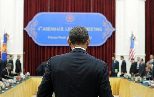 US President Barack Obama is pictured at the Peace Palace in Phnom Penh. He is set to dive into the tumultuous diplomatic waters of the South China Sea on Tuesday at a summit in which rival claims to the strategically vital area have dominated.