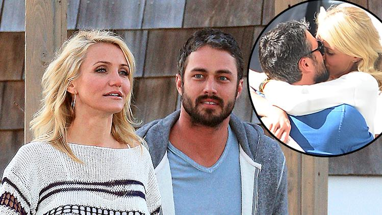 Cameron Diaz and Taylor Kinney on location at a gazebo in the Hamptons for 'The Other Woman'