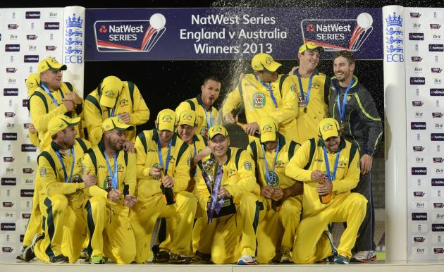 Australia's Clarke holds the trophy after the fifth one-day international against England in Southampton