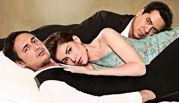 'A Beautiful Affair' star Bea Alonzo with John Lloyd Cruz and John Estrada. Bea's Primetime Bida series will premiere on Oct 29, 2012. (Photo courtesy of ABS-CBN)