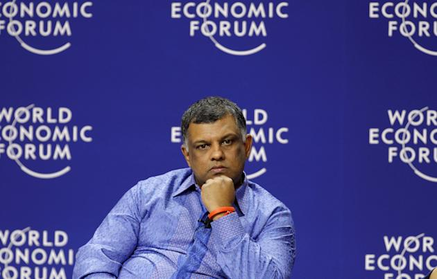 File photo of AirAsia Group CEO Tony Fernandes looking on during a televised session of World Economic Forum on East Asia in Jakarta
