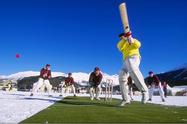Cricket on snow at St.Moritz