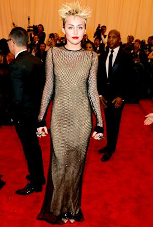 Miley Cyrus Wears Full-Length Mesh Dress, Rocks Spiky Hair at Met Gala