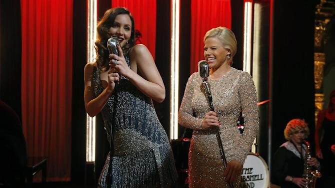 "This Dec. 12, 2012 photo released by NBC shows Katharine McPhee, left, and Megan Hilty on the set of ""Smash,"" premiering with a two-hour episode on Tuesday, Feb. 5, 2013 at 9 p.m. EST on NBC. (AP Photo/NBC, Will Hart)"