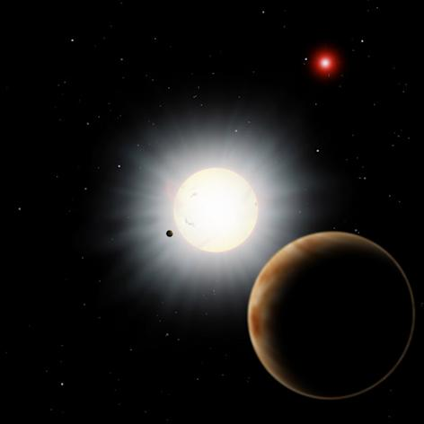 "This planet's odd orbit can be explained by a series of gravitational dominoes that make the planet orbit around its star ""backwards."""