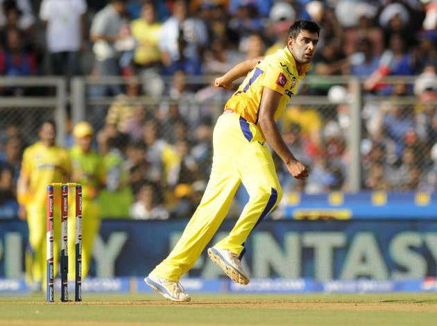 qRavichandran Ashwin of Chennai Super Kings bowls during match 49 of the Pepsi Indian Premier League ( IPL) 2013  between The Mumbai Indians and the Chennai SUperkings held at the Wankhede Stadium in