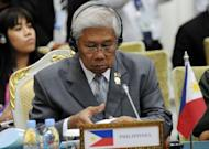 Philippines Defence Minister Voltair Gazmin takes part in the Association of Southeast Asian Nations (ASEAN) Defence Ministers' meeting in Phnom Penh. China and the Philippines have agreed to show restraint in their tense standoff over a disputed shoal in the South China Sea, Gazmin said