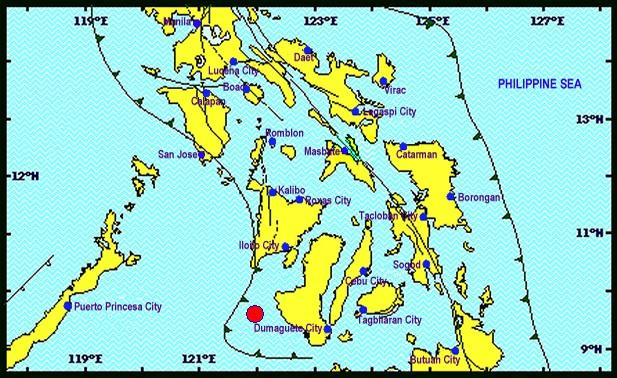 A magnitude-5 quake hit the Guimaras area Sunday night even as state seismologists warned of possible aftershocks. (Photo from PHIVOLCS)